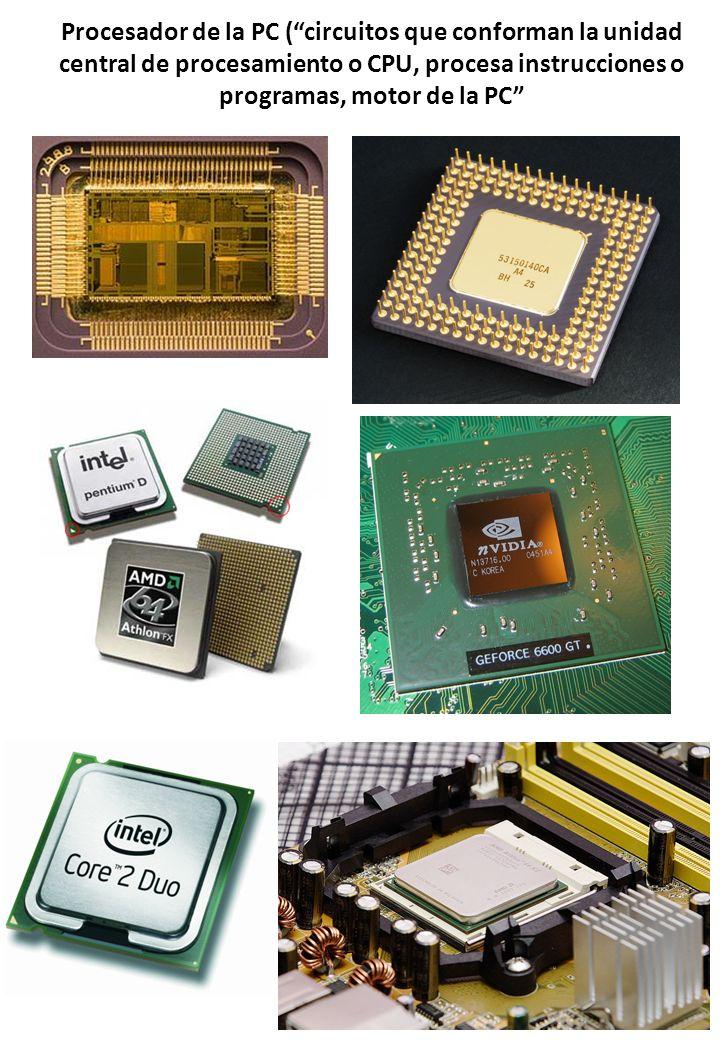 Procesador de la PC (circuitos que conforman la unidad central de procesamiento o CPU, procesa instrucciones o programas, motor de la PC