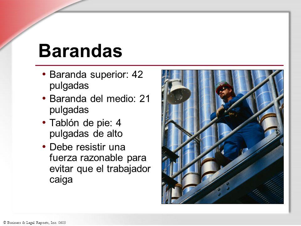 © Business & Legal Reports, Inc. 0605 Barandas Baranda superior: 42 pulgadas Baranda del medio: 21 pulgadas Tablón de pie: 4 pulgadas de alto Debe res
