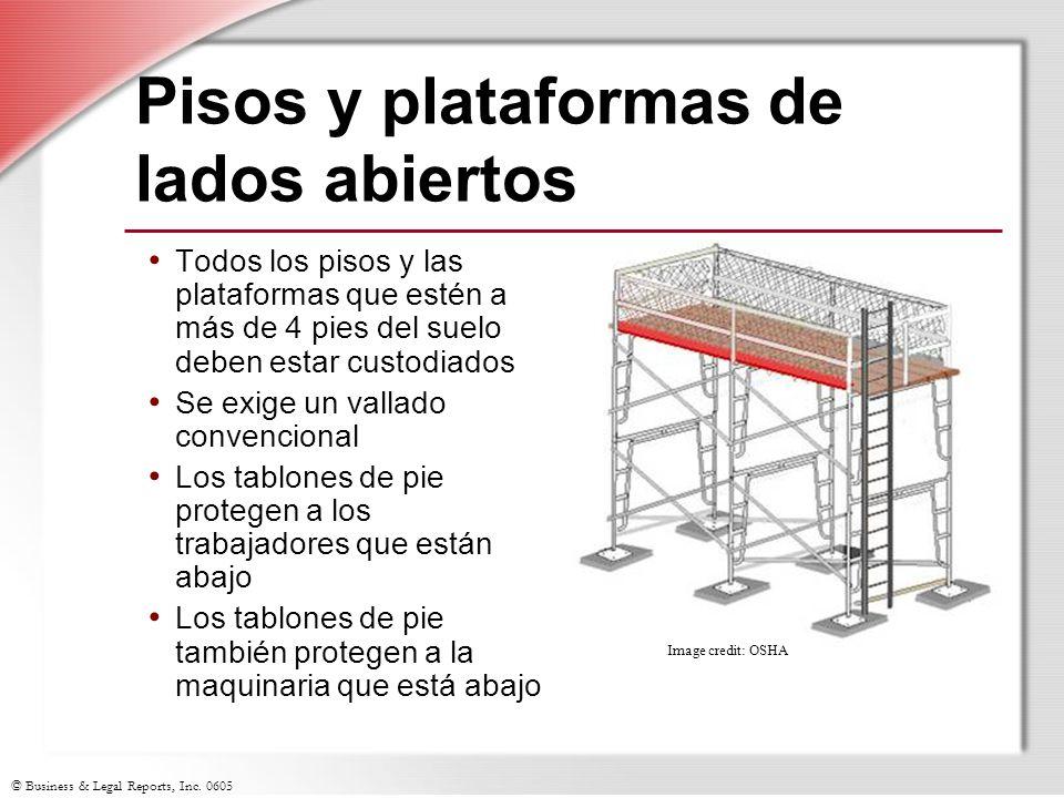 © Business & Legal Reports, Inc. 0605 Pisos y plataformas de lados abiertos Todos los pisos y las plataformas que estén a más de 4 pies del suelo debe