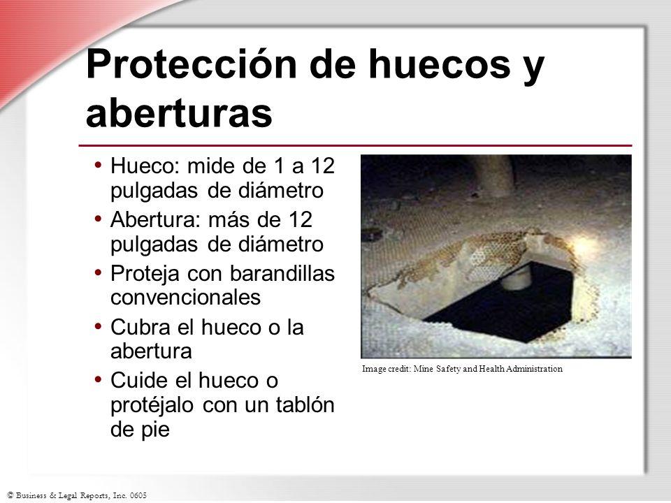 © Business & Legal Reports, Inc. 0605 Protección de huecos y aberturas Hueco: mide de 1 a 12 pulgadas de diámetro Abertura: más de 12 pulgadas de diám