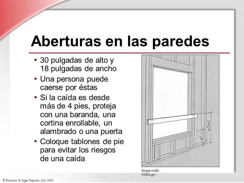 © Business & Legal Reports, Inc. 0605 Aberturas en las paredes 30 pulgadas de alto y 18 pulgadas de ancho Una persona puede caerse por éstas Si la caí