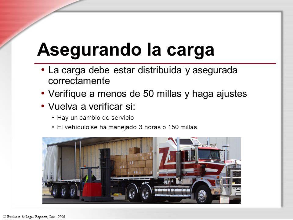 © Business & Legal Reports, Inc. 0706 Asegurando la carga La carga debe estar distribuida y asegurada correctamente Verifique a menos de 50 millas y h