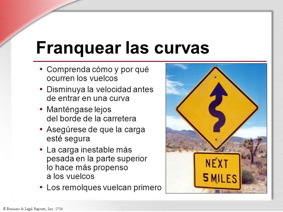 © Business & Legal Reports, Inc. 0706 Franquear las curvas Comprenda cómo y por qué ocurren los vuelcos Disminuya la velocidad antes de entrar en una