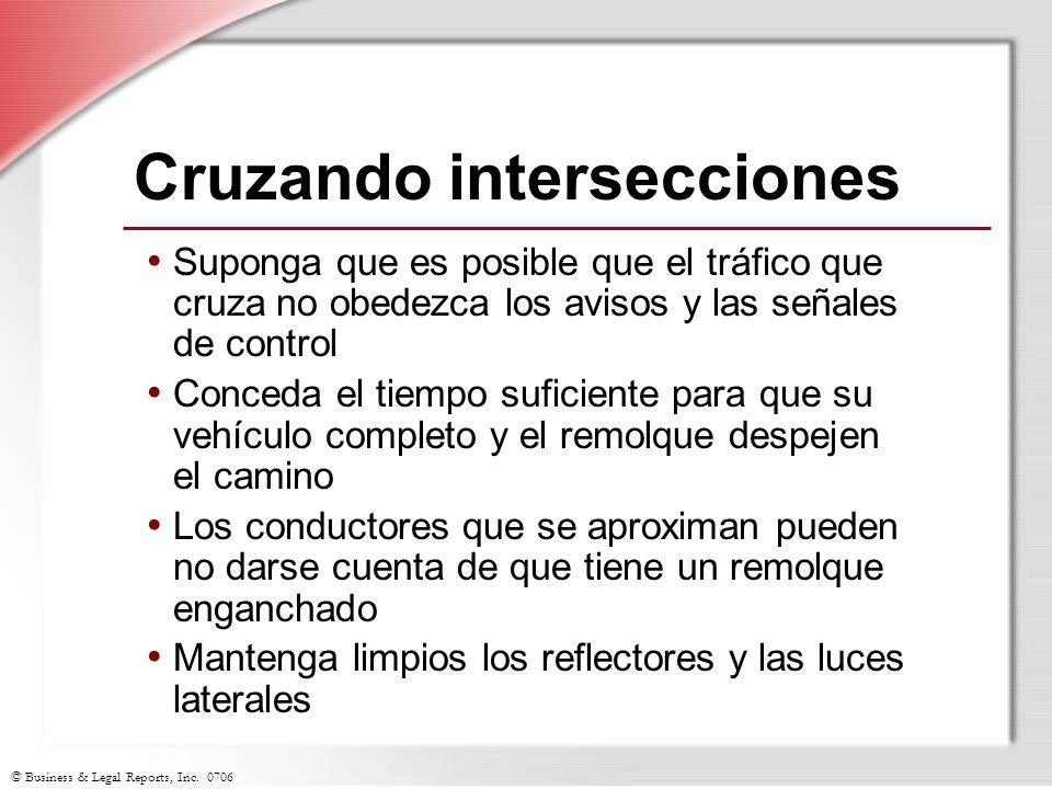 © Business & Legal Reports, Inc. 0706 Cruzando intersecciones Suponga que es posible que el tráfico que cruza no obedezca los avisos y las señales de