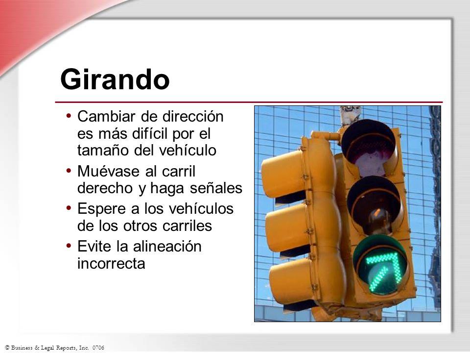 © Business & Legal Reports, Inc. 0706 Girando Cambiar de dirección es más difícil por el tamaño del vehículo Muévase al carril derecho y haga señales
