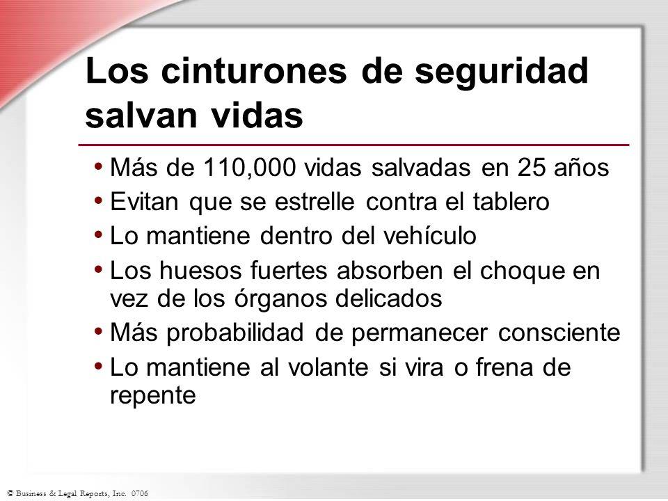 © Business & Legal Reports, Inc. 0706 Los cinturones de seguridad salvan vidas Más de 110,000 vidas salvadas en 25 años Evitan que se estrelle contra