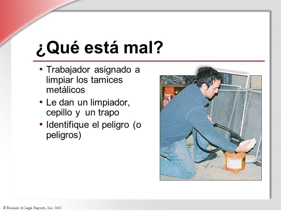 © Business & Legal Reports, Inc. 0605 ¿Qué está mal? Trabajador asignado a limpiar los tamices metálicos Le dan un limpiador, cepillo y un trapo Ident