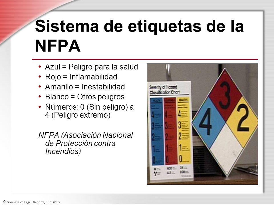 © Business & Legal Reports, Inc. 0605 Sistema de etiquetas de la NFPA Azul = Peligro para la salud Rojo = Inflamabilidad Amarillo = Inestabilidad Blan
