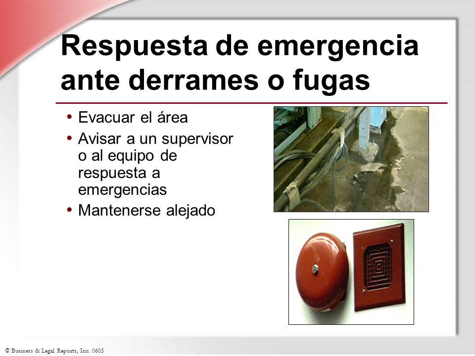 © Business & Legal Reports, Inc. 0605 Respuesta de emergencia ante derrames o fugas Evacuar el área Avisar a un supervisor o al equipo de respuesta a