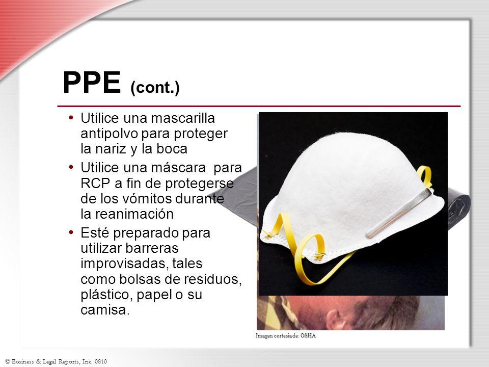© Business & Legal Reports, Inc. 0810 Imagen cortesía de: OSHA PPE (cont.) Utilice una mascarilla antipolvo para proteger la nariz y la boca Utilice u