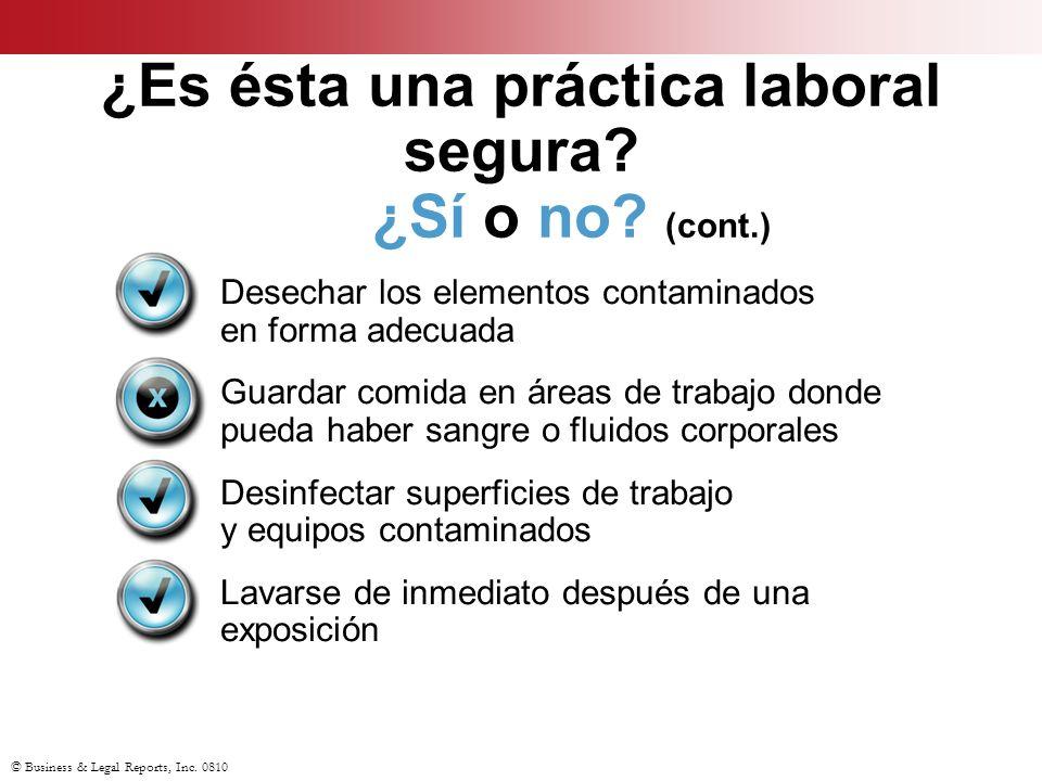© Business & Legal Reports, Inc. 0810 ¿Es ésta una práctica laboral segura? ¿Sí o no? (cont.) Desechar los elementos contaminados en forma adecuada Gu