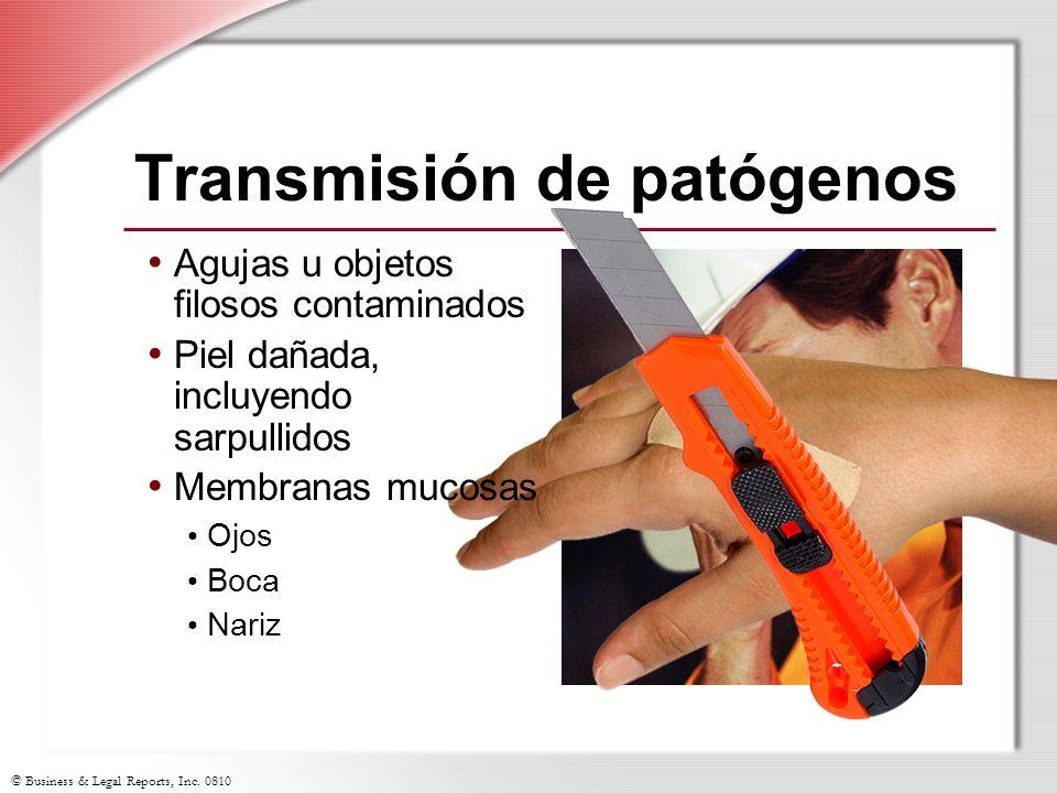 © Business & Legal Reports, Inc. 0810 Transmisión de patógenos Agujas u objetos filosos contaminados Piel dañada, incluyendo sarpullidos Membranas muc