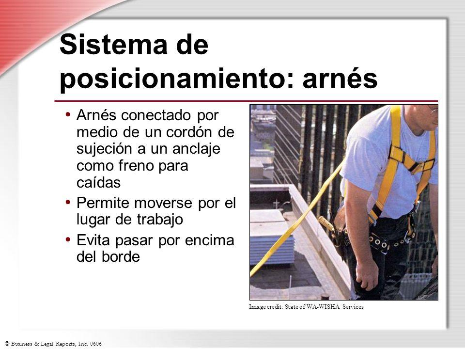 © Business & Legal Reports, Inc. 0606 Sistema de posicionamiento: arnés Arnés conectado por medio de un cordón de sujeción a un anclaje como freno par