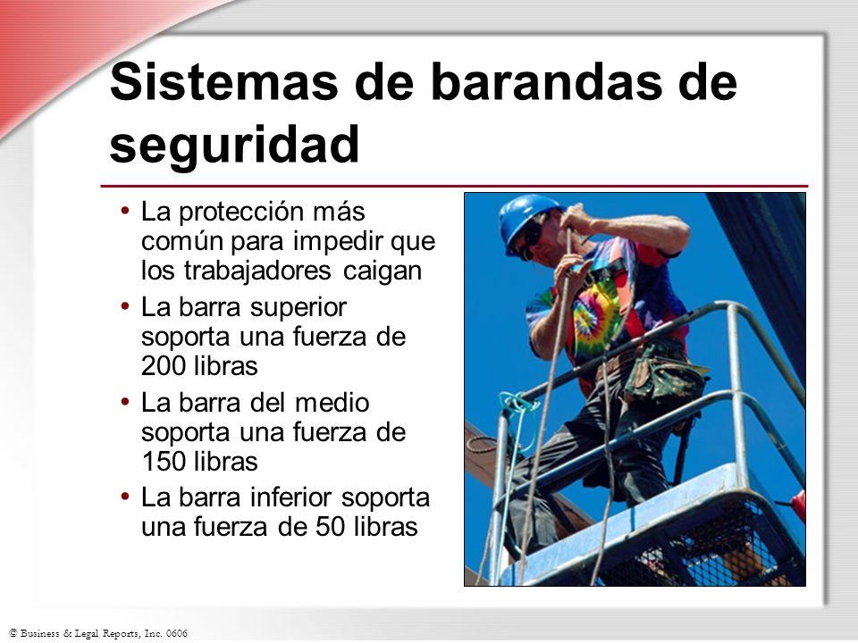 © Business & Legal Reports, Inc. 0606 Sistemas de barandas de seguridad La protección más común para impedir que los trabajadores caigan La barra supe