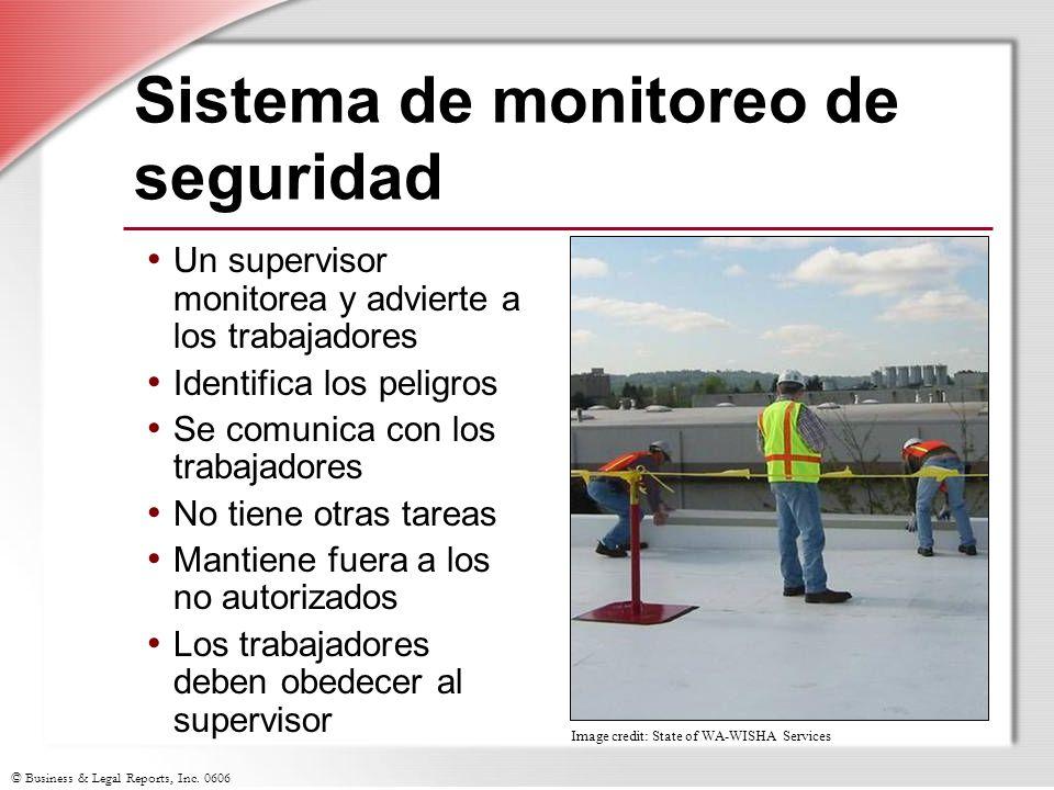 © Business & Legal Reports, Inc. 0606 Sistema de monitoreo de seguridad Un supervisor monitorea y advierte a los trabajadores Identifica los peligros