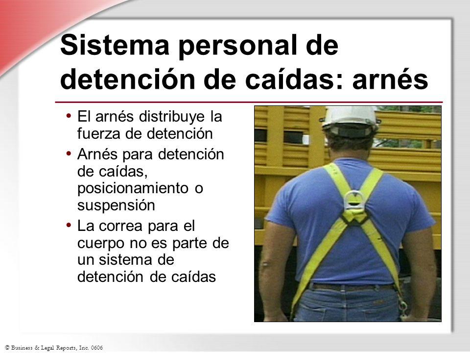 © Business & Legal Reports, Inc. 0606 Sistema personal de detención de caídas: arnés El arnés distribuye la fuerza de detención Arnés para detención d