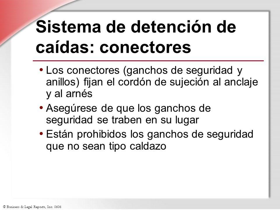 © Business & Legal Reports, Inc. 0606 Sistema de detención de caídas: conectores Los conectores (ganchos de seguridad y anillos) fijan el cordón de su