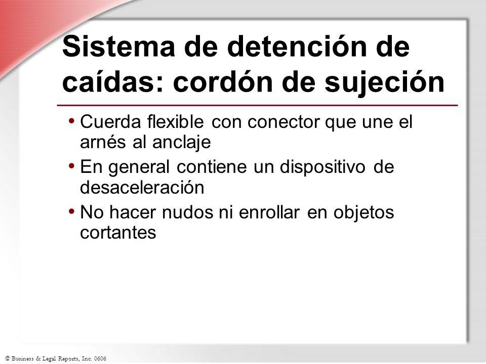 © Business & Legal Reports, Inc. 0606 Sistema de detención de caídas: cordón de sujeción Cuerda flexible con conector que une el arnés al anclaje En g