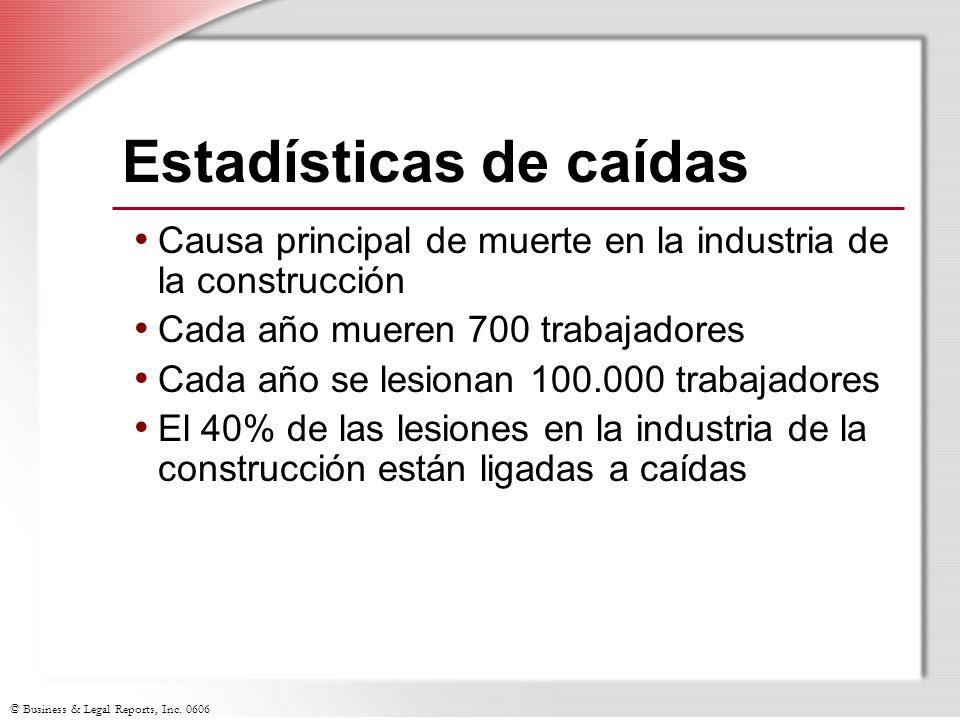 © Business & Legal Reports, Inc. 0606 Estadísticas de caídas Causa principal de muerte en la industria de la construcción Cada año mueren 700 trabajad