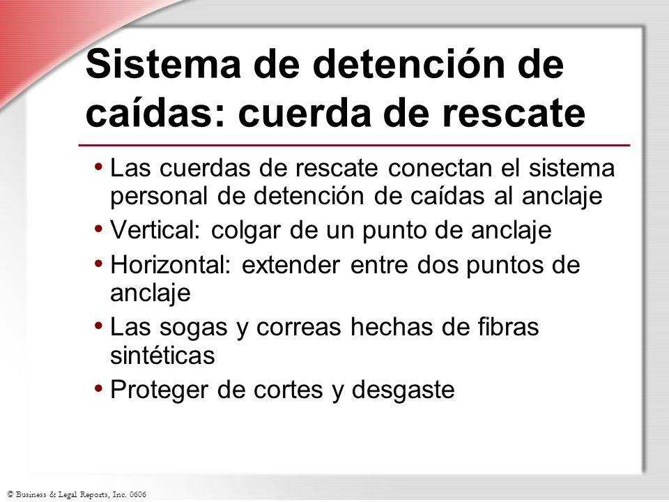 © Business & Legal Reports, Inc. 0606 Sistema de detención de caídas: cuerda de rescate Las cuerdas de rescate conectan el sistema personal de detenci
