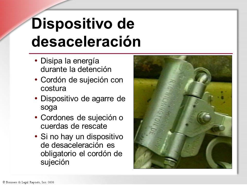 © Business & Legal Reports, Inc. 0606 Dispositivo de desaceleración Disipa la energía durante la detención Cordón de sujeción con costura Dispositivo