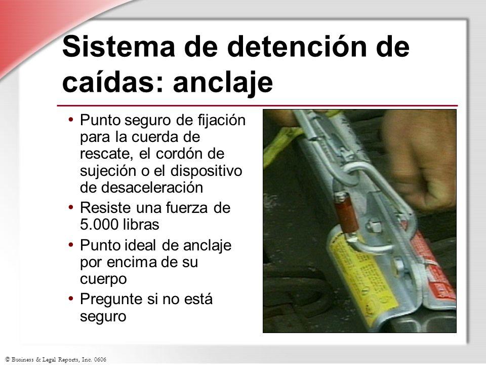 © Business & Legal Reports, Inc. 0606 Sistema de detención de caídas: anclaje Punto seguro de fijación para la cuerda de rescate, el cordón de sujeció