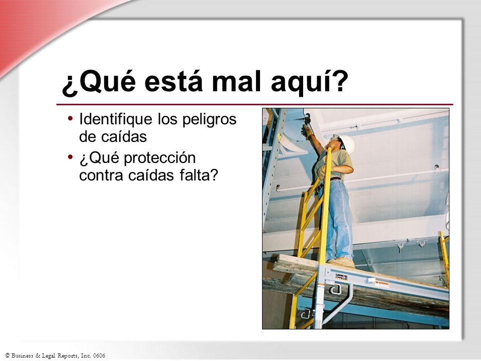 © Business & Legal Reports, Inc. 0606 ¿Qué está mal aquí? Identifique los peligros de caídas ¿Qué protección contra caídas falta?