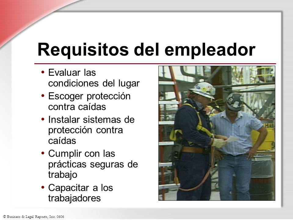 © Business & Legal Reports, Inc. 0606 Requisitos del empleador Evaluar las condiciones del lugar Escoger protección contra caídas Instalar sistemas de