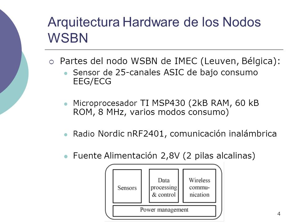 5 Radio Nordic nRF2401 Bajo consumo (10.5mA transmisión y 18mA en recepción) 4 modos de consumo diferentes: Modo ShockBurst (Activo) Modo Directo (Activo) Stand-by-mode (Bajo Consumo) Power Down mode (Bajo Consumo)