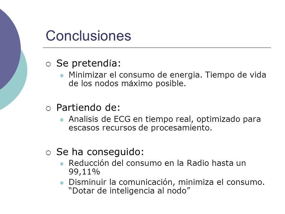 Conclusiones Se pretend í a: Minimizar el consumo de energia. Tiempo de vida de los nodos m á ximo posible. Partiendo de: Analisis de ECG en tiempo re