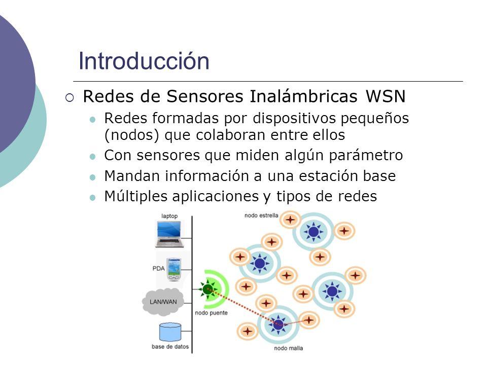 Introducción Redes de Sensores Inalámbricas WSN Redes formadas por dispositivos pequeños (nodos) que colaboran entre ellos Con sensores que miden algú
