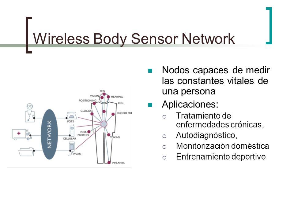 Wireless Body Sensor Network Nodos capaces de medir las constantes vitales de una persona Aplicaciones: Tratamiento de enfermedades crónicas, Autodiag