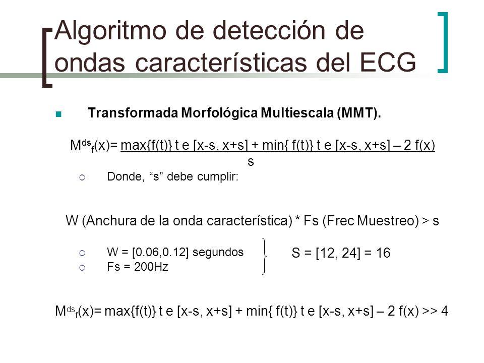 Algoritmo de detección de ondas características del ECG Transformada Morfológica Multiescala (MMT). M ds f (x)= max{f(t)} t e [x-s, x+s] + min{ f(t)}