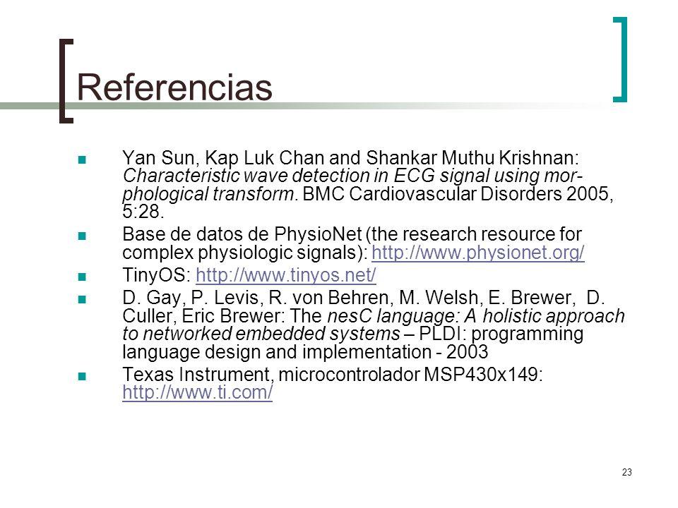 23 Referencias Yan Sun, Kap Luk Chan and Shankar Muthu Krishnan: Characteristic wave detection in ECG signal using mor- phological transform. BMC Card