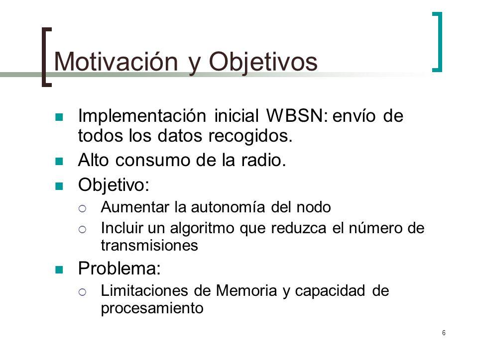 6 Motivación y Objetivos Implementación inicial WBSN: envío de todos los datos recogidos. Alto consumo de la radio. Objetivo: Aumentar la autonomía de