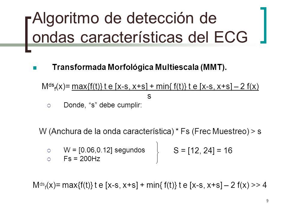 9 Algoritmo de detección de ondas características del ECG Transformada Morfológica Multiescala (MMT). M ds f (x)= max{f(t)} t e [x-s, x+s] + min{ f(t)