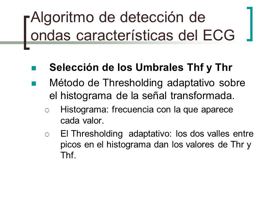 Algoritmo de detección de ondas características del ECG Selección de los Umbrales Thf y Thr Método de Thresholding adaptativo sobre el histograma de l