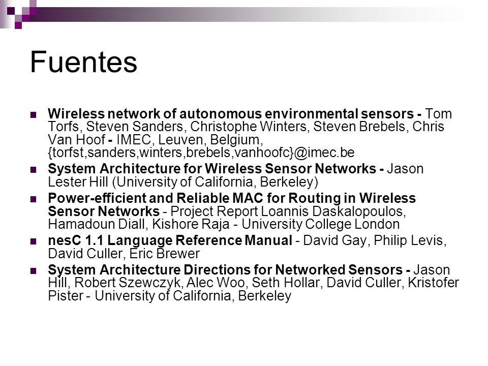 Fuentes Wireless network of autonomous environmental sensors - Tom Torfs, Steven Sanders, Christophe Winters, Steven Brebels, Chris Van Hoof - IMEC, L