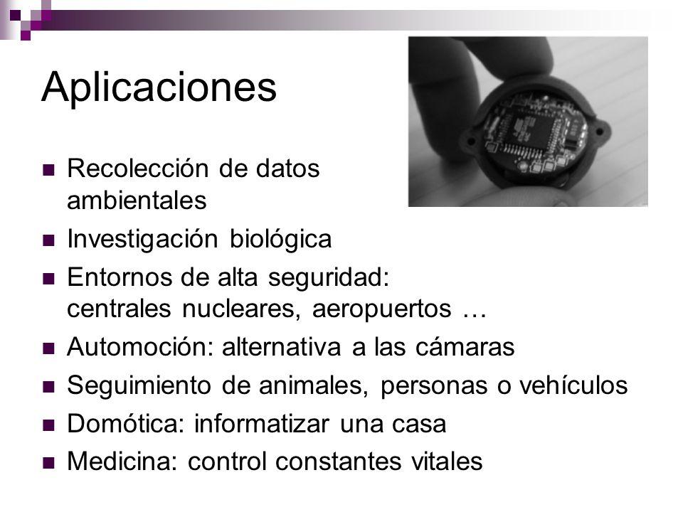 Aplicaciones Recolección de datos ambientales Investigación biológica Entornos de alta seguridad: centrales nucleares, aeropuertos … Automoción: alter