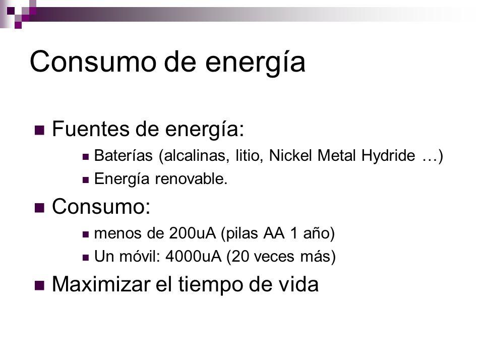Consumo de energía Fuentes de energía: Baterías (alcalinas, litio, Nickel Metal Hydride …) Energía renovable. Consumo: menos de 200uA (pilas AA 1 año)