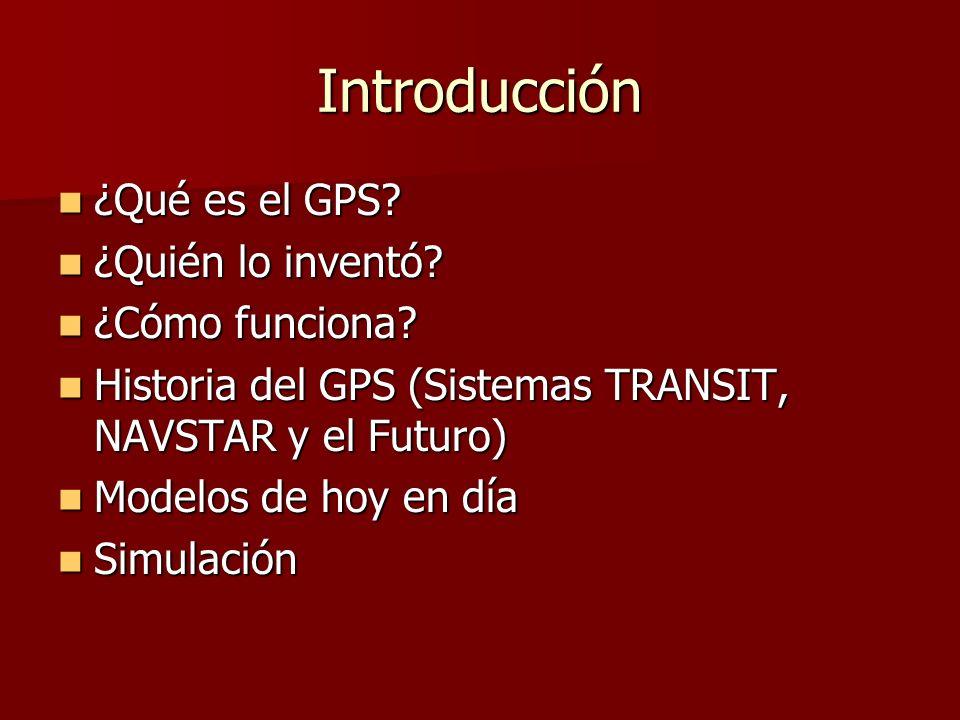 Introducción ¿Qué es el GPS? ¿Qué es el GPS? ¿Quién lo inventó? ¿Quién lo inventó? ¿Cómo funciona? ¿Cómo funciona? Historia del GPS (Sistemas TRANSIT,