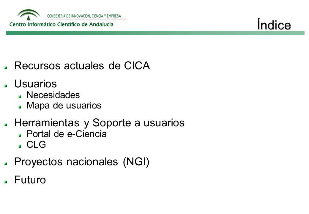 Índice Recursos actuales de CICA Usuarios Necesidades Mapa de usuarios Herramientas y Soporte a usuarios Portal de e-Ciencia CLG Proyectos nacionales (NGI) Futuro