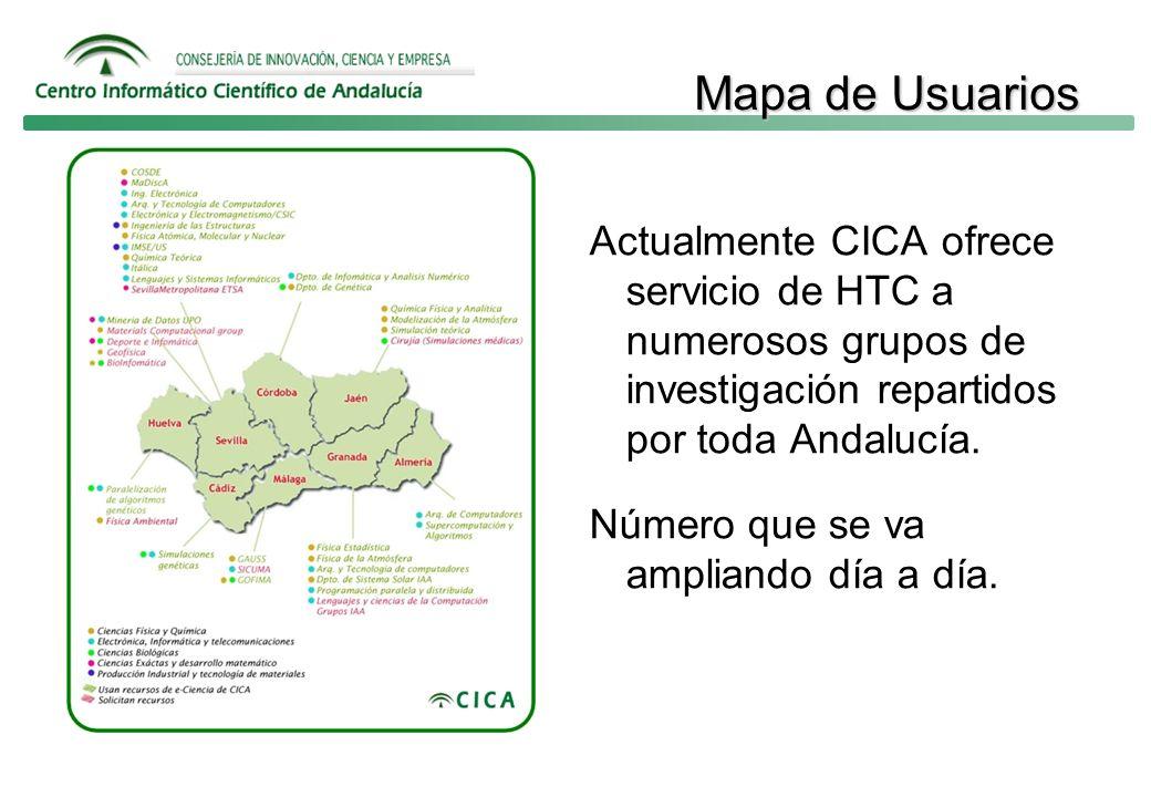 Mapa de Usuarios Mapa de Usuarios Actualmente CICA ofrece servicio de HTC a numerosos grupos de investigación repartidos por toda Andalucía.