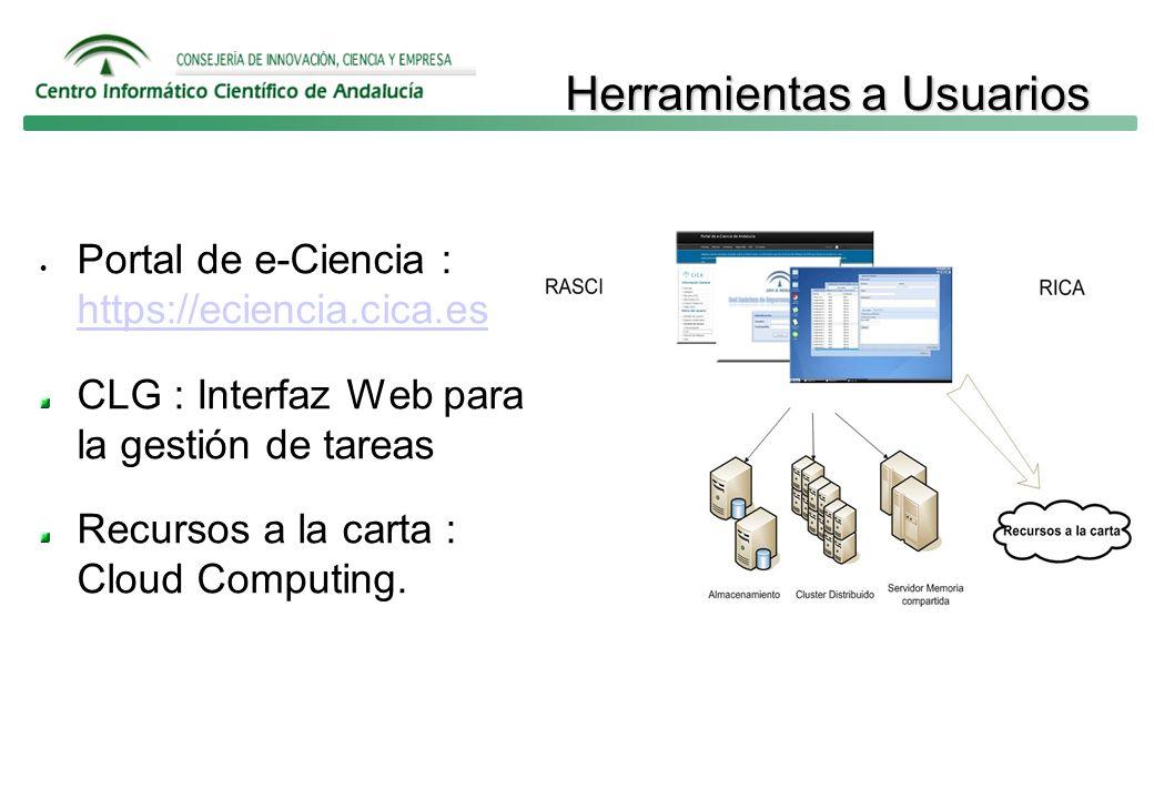 Herramientas a Usuarios Portal de e-Ciencia : https://eciencia.cica.es https://eciencia.cica.es CLG : Interfaz Web para la gestión de tareas Recursos a la carta : Cloud Computing.