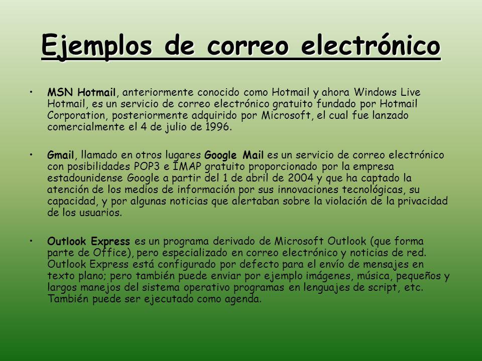 Ejemplos de correo electrónico MSN Hotmail, anteriormente conocido como Hotmail y ahora Windows Live Hotmail, es un servicio de correo electrónico gra