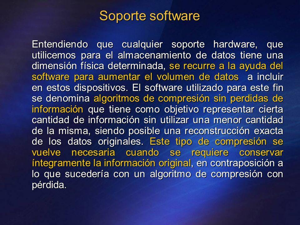 Soporte software Entendiendo que cualquier soporte hardware, que utilicemos para el almacenamiento de datos tiene una dimensión física determinada, se