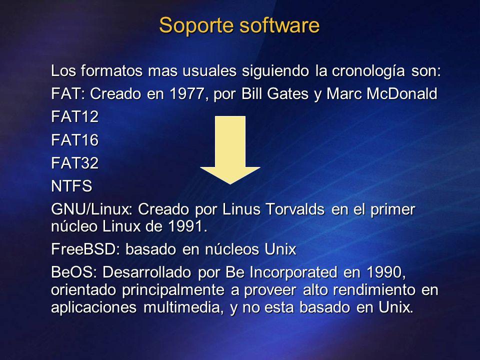 Soporte software Los formatos mas usuales siguiendo la cronología son: FAT: Creado en 1977, por Bill Gates y Marc McDonald FAT12FAT16FAT32NTFS GNU/Lin