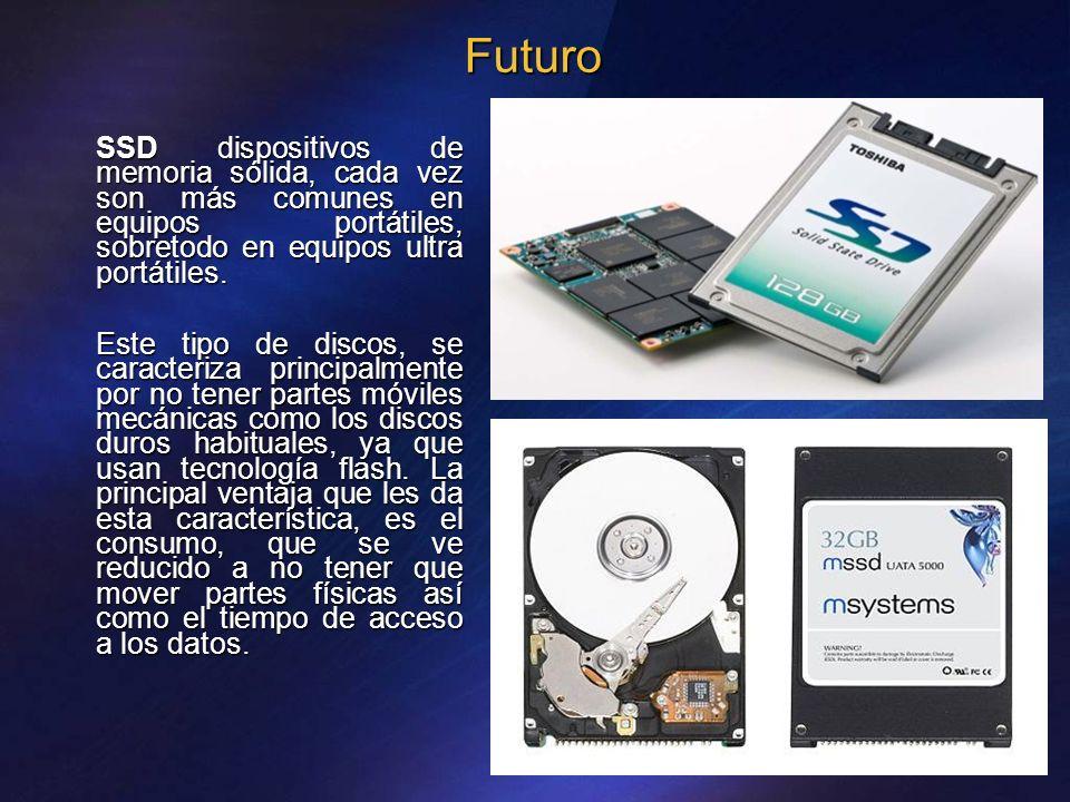 Futuro SSD dispositivos de memoria sólida, cada vez son más comunes en equipos portátiles, sobretodo en equipos ultra portátiles. Este tipo de discos,