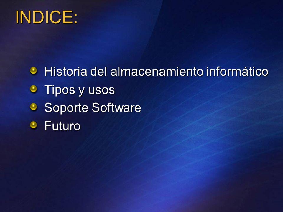 INDICE: Historia del almacenamiento informático Tipos y usos Soporte Software Futuro