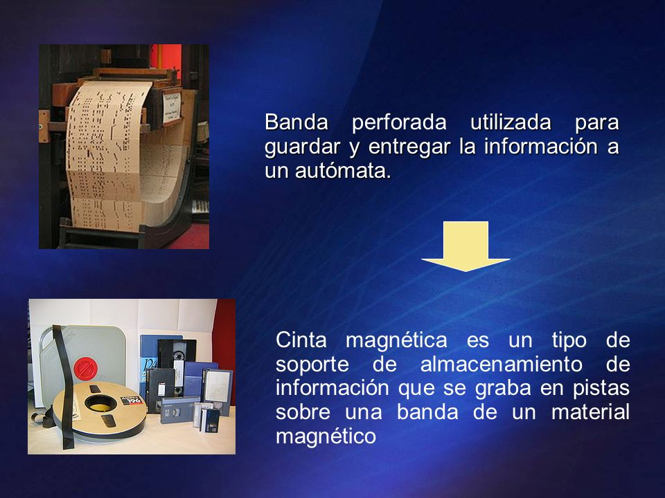 Bandautilizada para guardar y entregar la información a un autómata. Banda perforada utilizada para guardar y entregar la información a un autómata. C